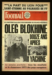 Portada de France Football otorgando a Blokhin el Balón de Oro FOTO: FF