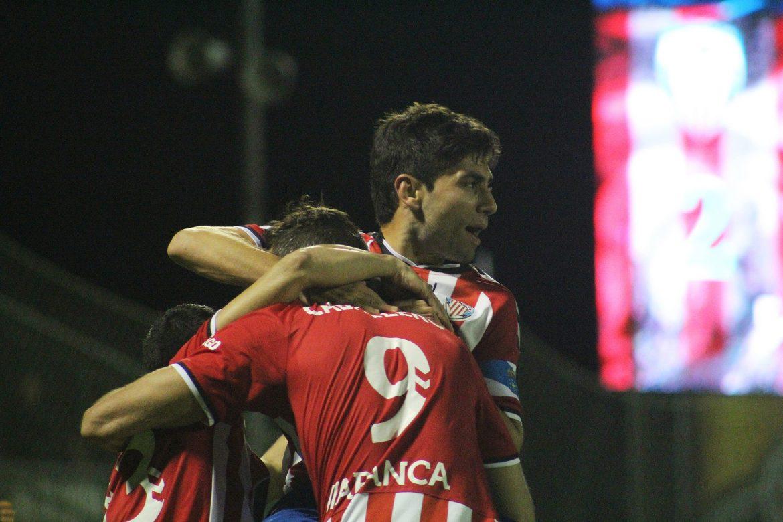 Manu, durante una celebración de un gol hace dos temporadas | Foto: Xabi Piñeiro.