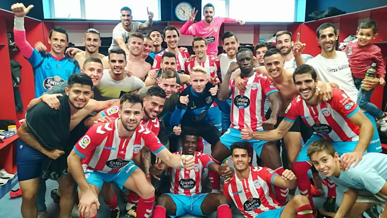 El vestuario del Lugo celebra la victoria ante el Nástic