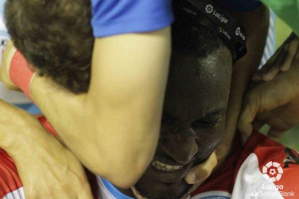 El Hacen, jugador del CD Lugo, tras marcar el gol contra el Tenerife