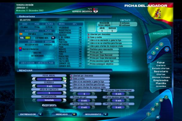 Pantalla del PC Fútbol