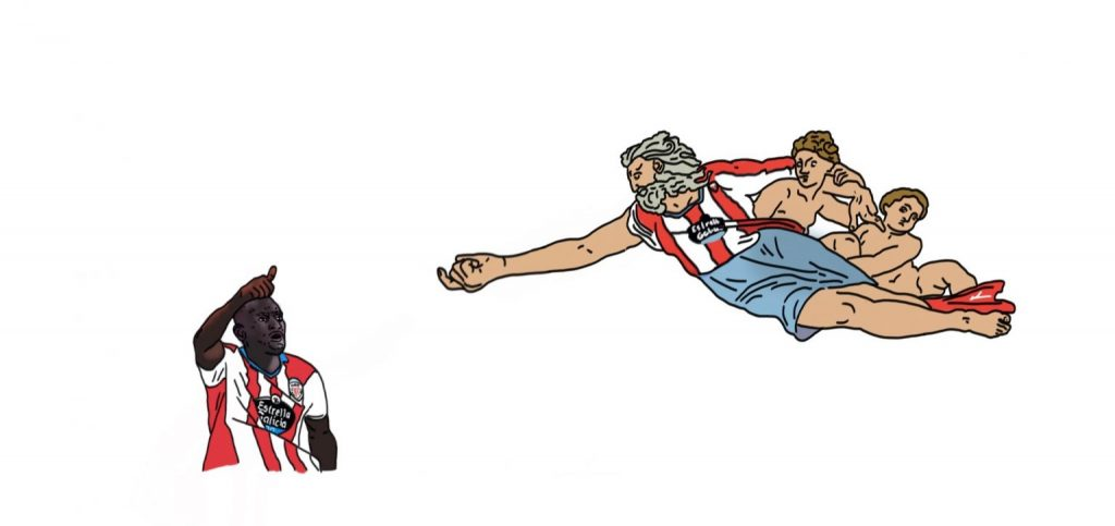 El Hace e Dios colaboraron salvación do CD Lugo. Ilustración de Pablo del Valle para Lugoslavia.