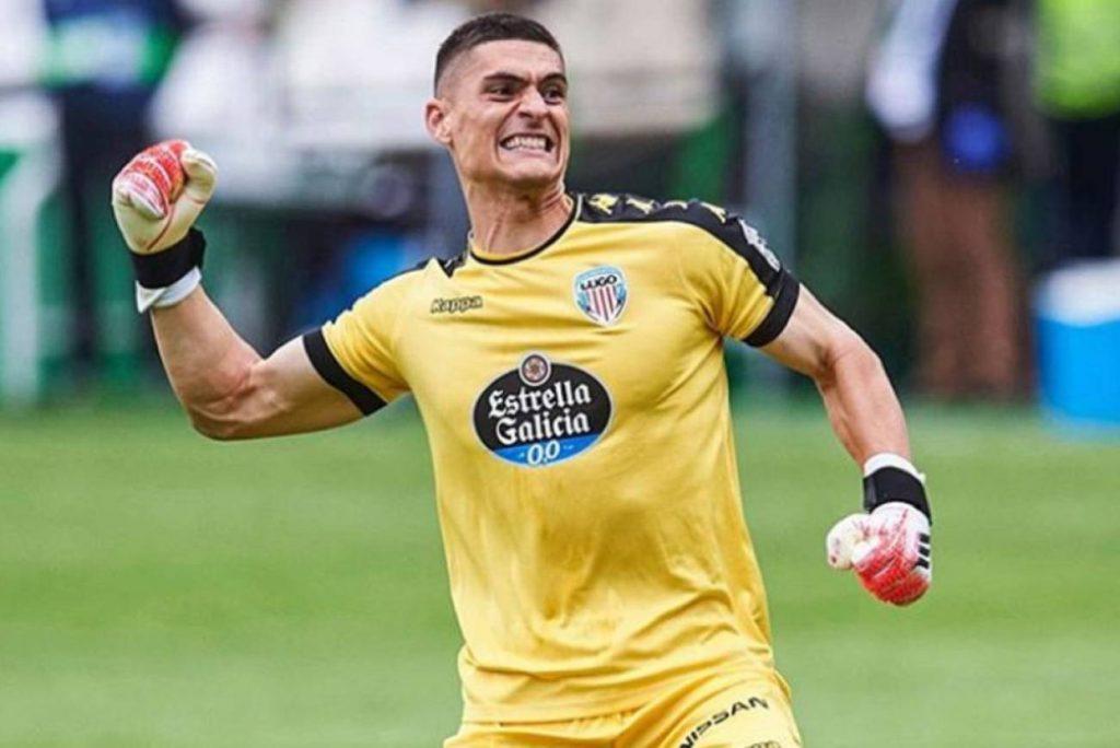Ander Cantero celebrando un gol del CD Lugo. Lugoslavia.