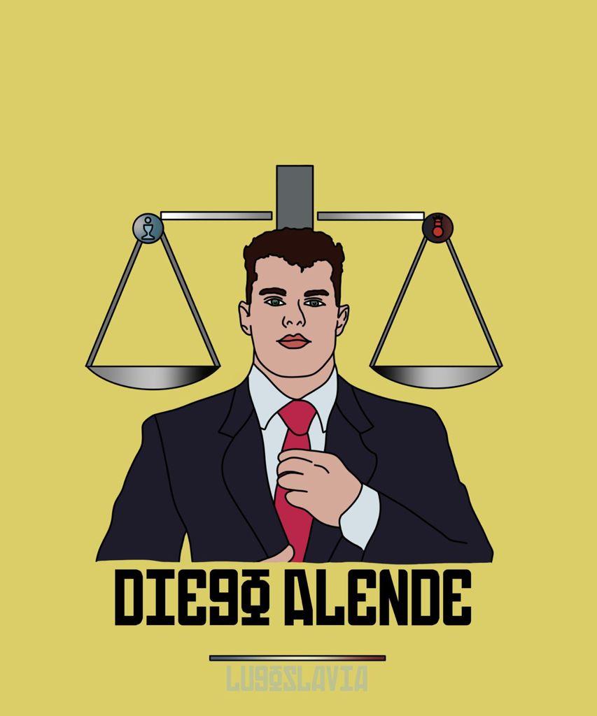 Diego Alende, central del CD Lugo, ilustrado por Lugoslavia, Pablo del Valle