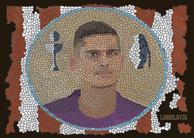 Ander Cantero, CD Lugo, ilustrado por Pablo del Valle. Lugoslavia.