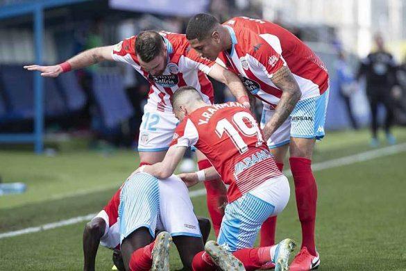 El CD Lugo celebra un gol ante el Fuenlabrada Lugoslavia